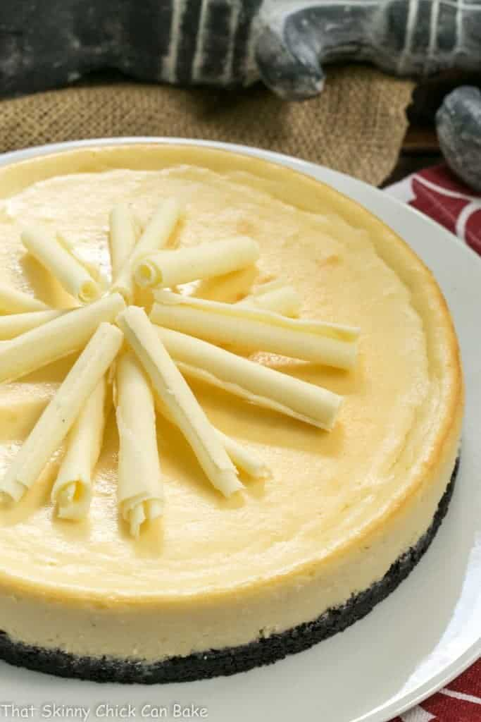 White Chocolate Frangelico Cheesecake on serving plate