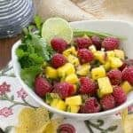 Raspberry Mango Salsa | SO addictive served with corn chips!