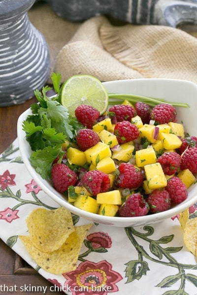 Raspberry Mango Salsa | SO addictive served with corn chips!
