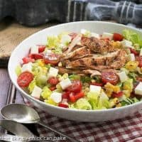 Southwestern Chicken Salad in a white ceramic salad bowl