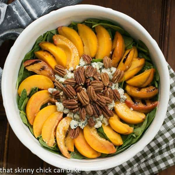 Spinach Salad with Grilled Peaches and Blue Cheese (2)