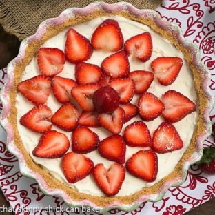 Overhead view of Strawberry Cheesecake Ice Cream Pie