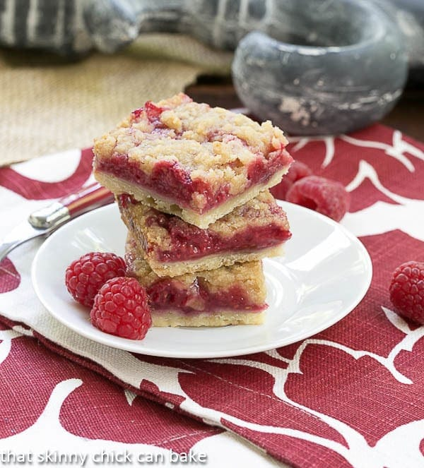 Streusel Topped Raspberry Squares - Filled with raspberries and topped with buttery crumbs