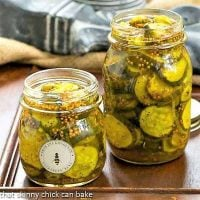 Two jars of Easy Bread and Butter Pickles without lids