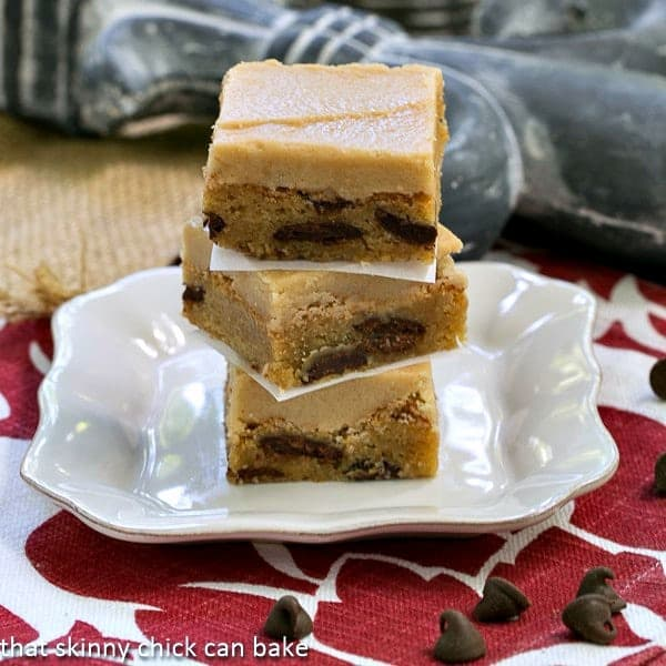 Butterscotch Bars filled with chocolate chips and iced with a caramel buttercream!