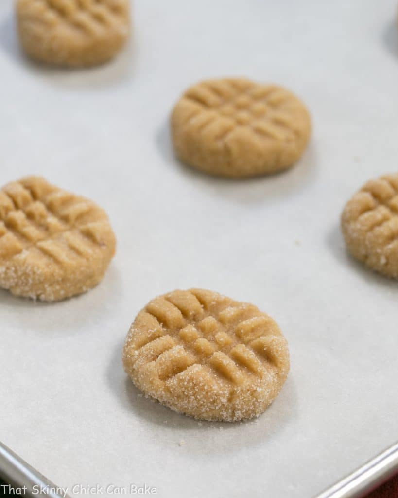 Classic Peanut Butter Cookies unbaked on a baking sheet