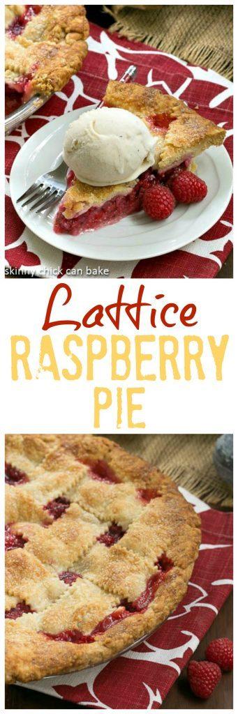 Lattice Topped Raspberry Pie collage