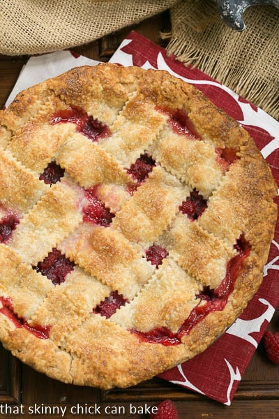 Lattice Topped Raspberry Pie overhead shot