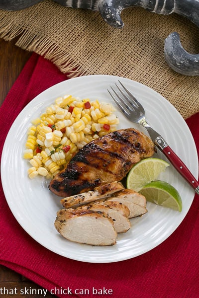 Mustard, Garlic and Lime Marinated Chicken Breasts on plate