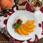 Riesling Poached Peaches with Mascarpone Cream #SundaySupper
