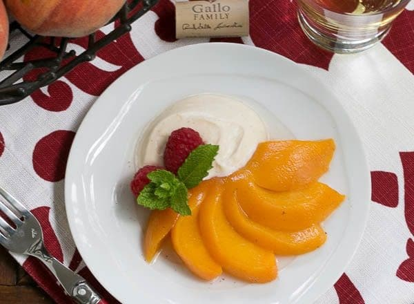 Riesling Poached Peaches with Mascarpone Cream | Poached Peach Recipe