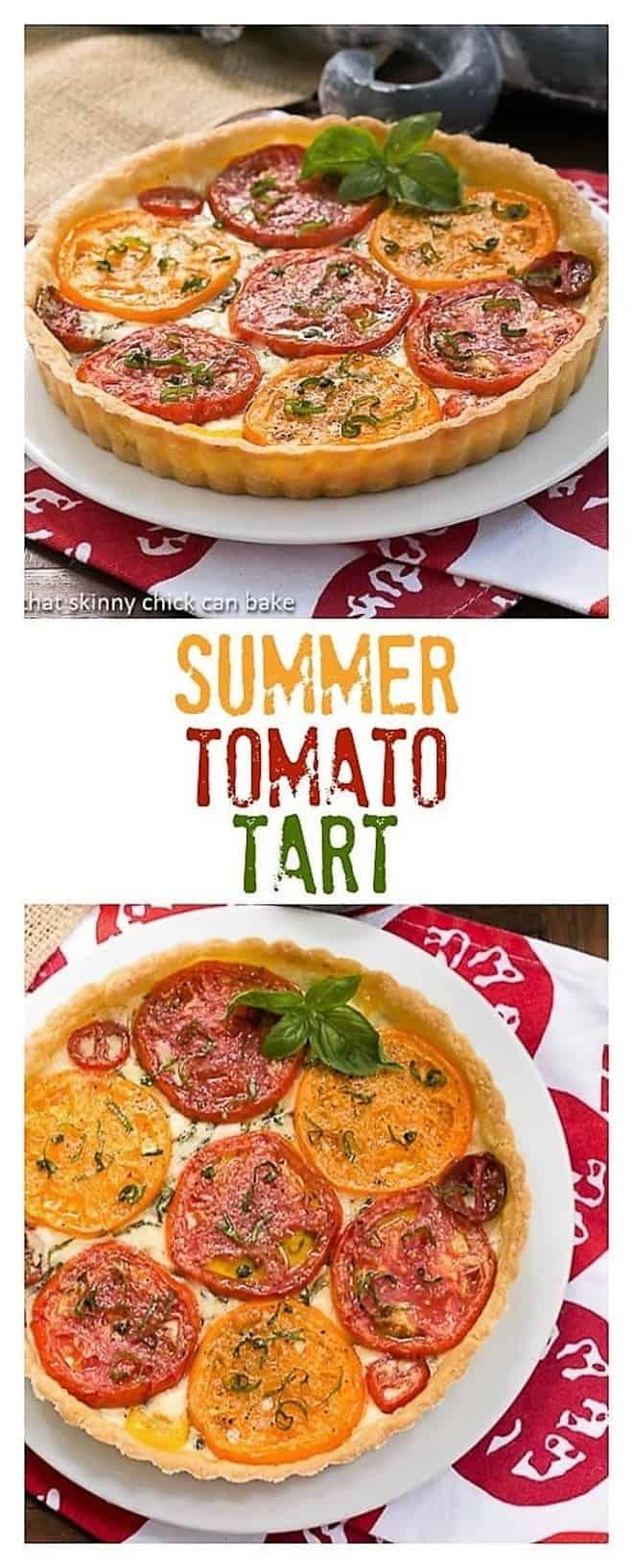 Summer Tomato Tart - a layered cheese and tomato pie #summertart #savorytart #tomatotart #fontina #summertomatoes