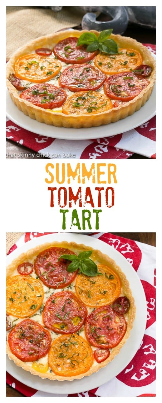 Summer Tomato Tart | A pastry shell filled with gooey Fontina cheese, fresh tomato slices and basil