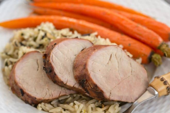 Whiskey Marinated Pork Tenderloin with rice and carrots