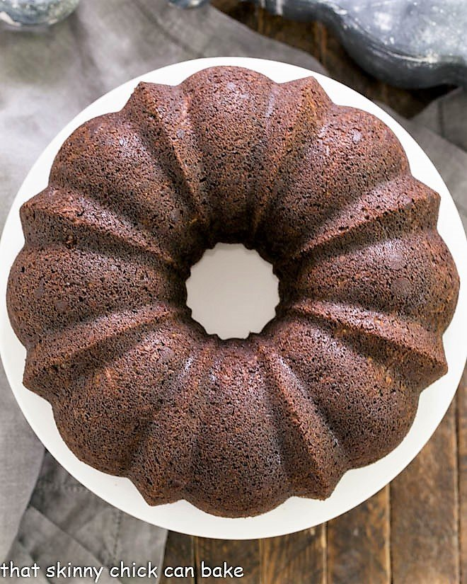 Overhead view of Chocolate Zucchini Bundt Cake