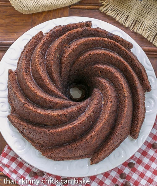 Chocolate Zucchini Bundt Cake - the addition of grated zucchini makes for a moist, delectable chocolate cake!