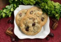 Cranberry, White Chocolate Cookies with Crystallized Ginger