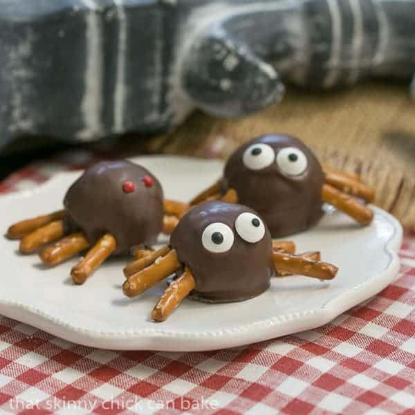 Potato Candy Spiders on a white plate