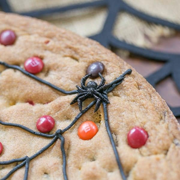 Spiderweb Cookie Cake close up of web and plastic spider
