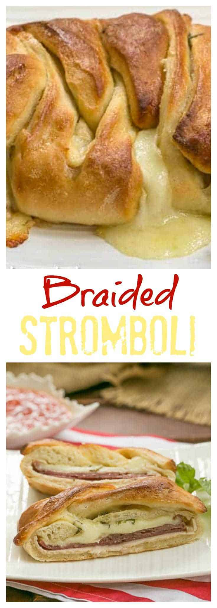 Braided Stromboli - pizza dough packed with Italian meats and cheese! #stromboli #gameday #cheese