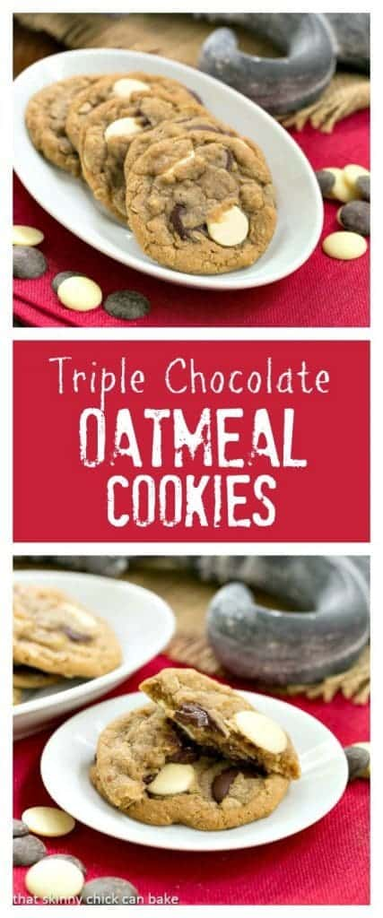 Triple Chocolate Chunk Oatmeal Cookies | Perfect  treat for you cookie monsters!