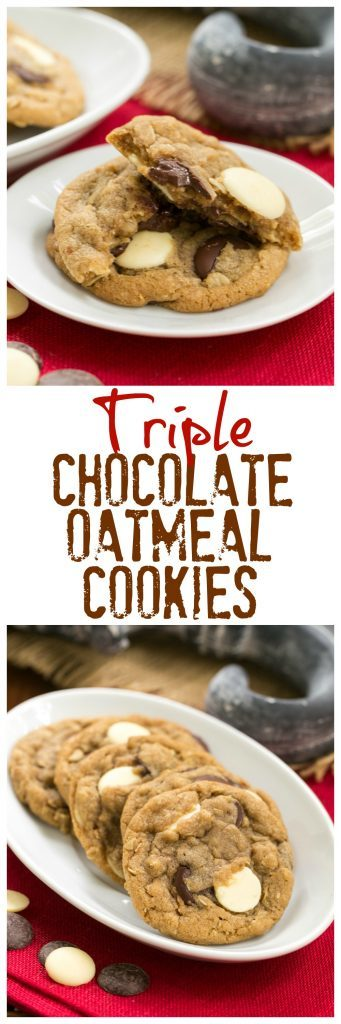 Triple Chocolate Chunk Oatmeal Cookies - Perfect treat for you cookie monsters!