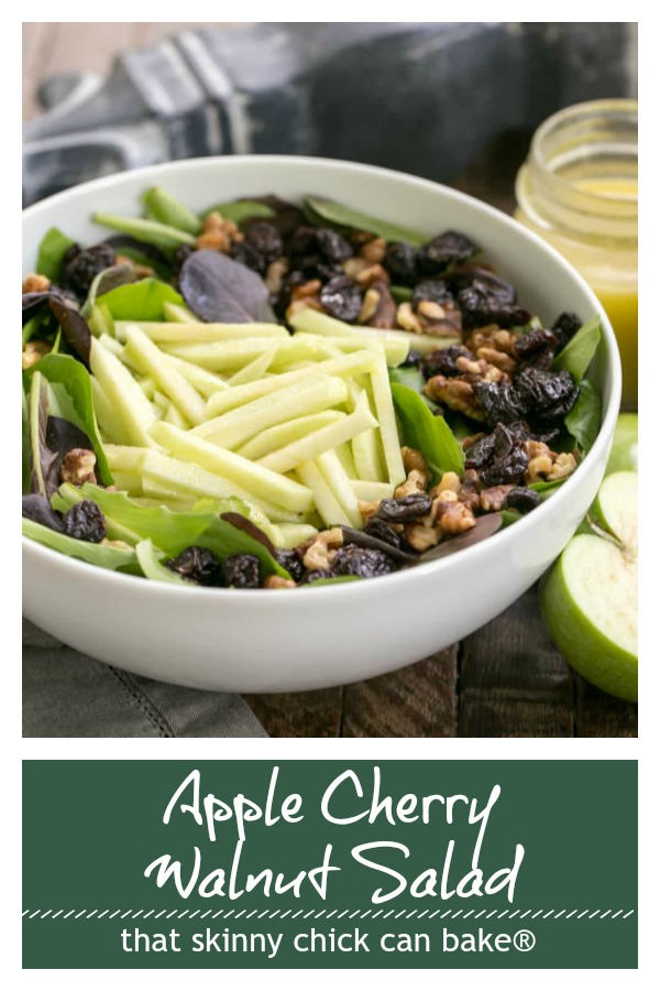 apple cherry walnut salad with maple dressing photo and text collage