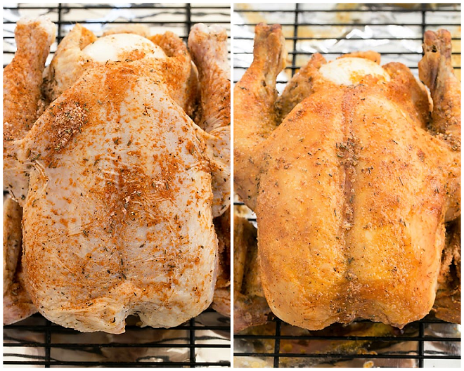 Rotisserie Chicken collage before and after roasting