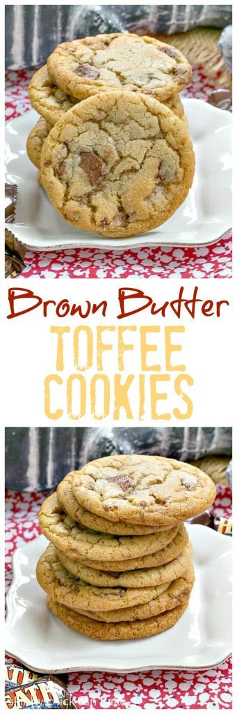 Brown Butter Toffee Cookies | Chewy cookies filled with toffee chunks with a nutty nuance thanks to brown butter!