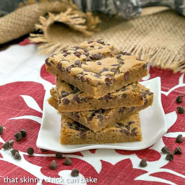Chocolate Chip Topped Butterscotch Bars - simple ingredients in these delicious bars with caramel undertones!