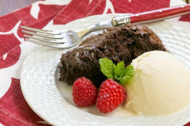 Slow Cooker Brownie Dessert | A delectable chocolate treat made in a slow cooker!
