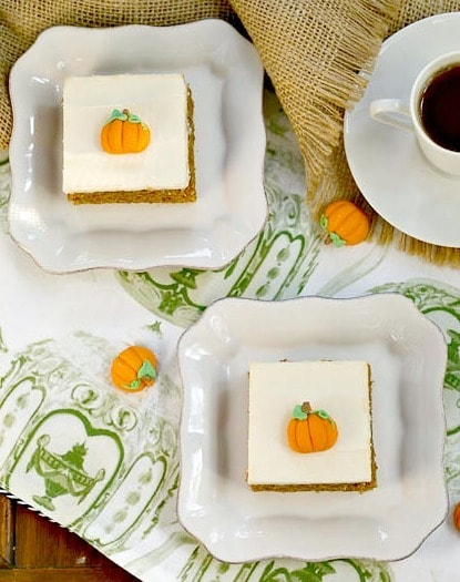 Killer Pumpkin Bars with Cream Cheese Frosting - Guaranteed the BEST Pumpkin Bars you'll ever taste!