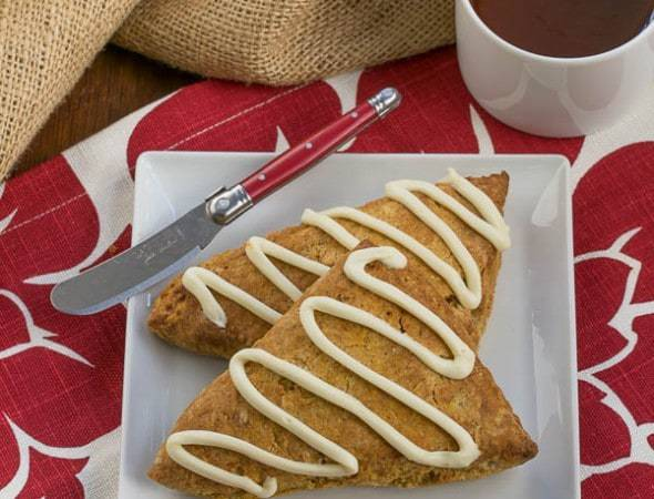 Pumpkin Scones with White Chocolate Drizzle