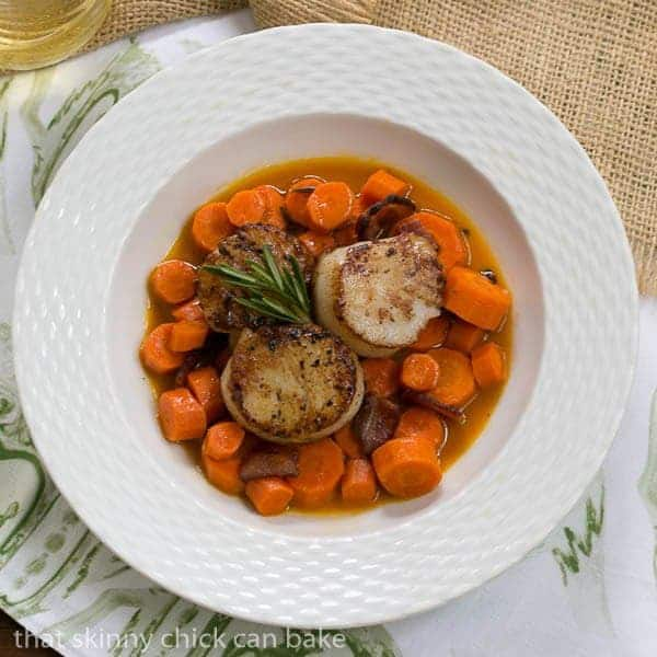 Scallops and Double Carrots - don't let the name deceive you, this is one delicious meal!