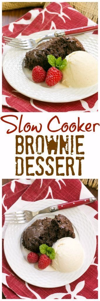 Slow Cooker Brownie Dessert - A delectable chocolate treat made in a slow cooker!