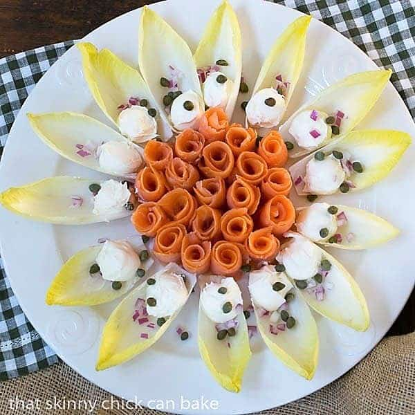 Smoked Salmon Roses with Creme Fraiche