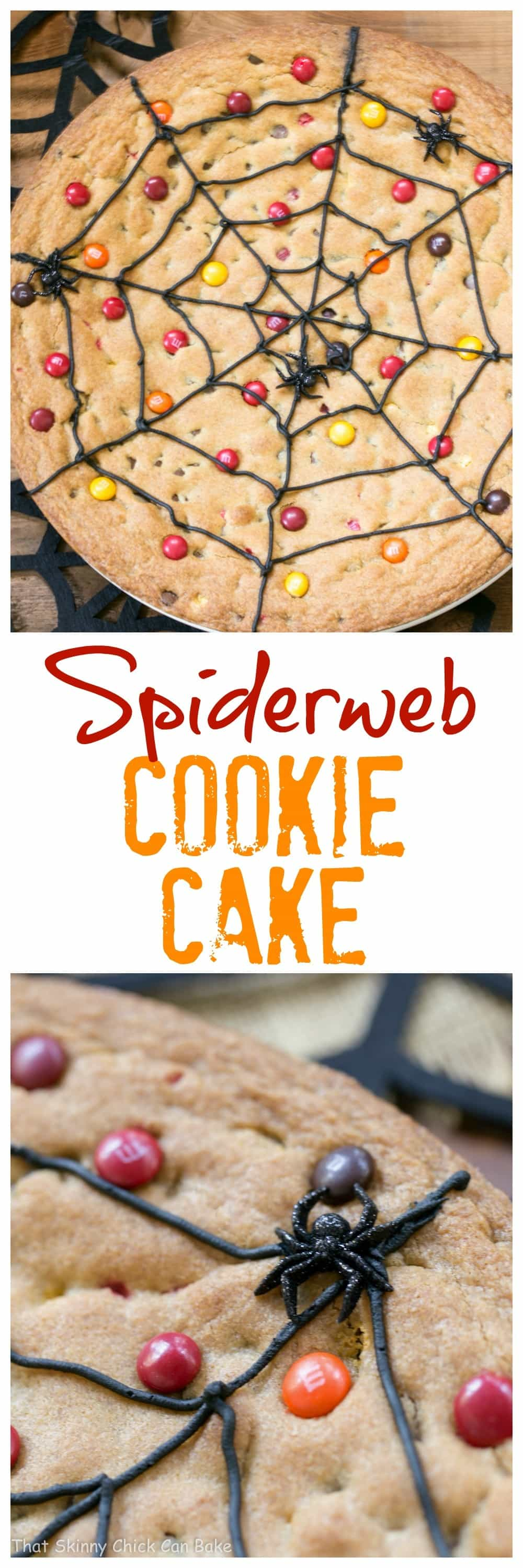 Spiderweb Cookie Cake - An easy Halloween dessert that young and old will love! #Halloween #cookiecake #spiderweb