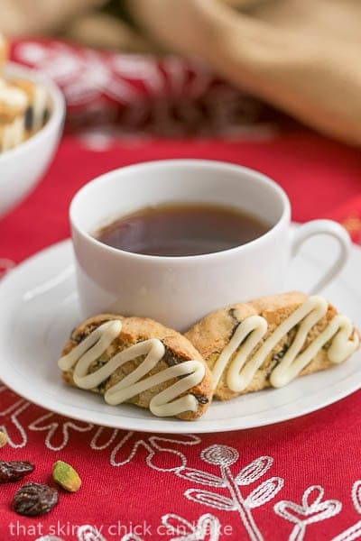 Cherry Pistachio Biscotti | Terrific holiday or hostess gift