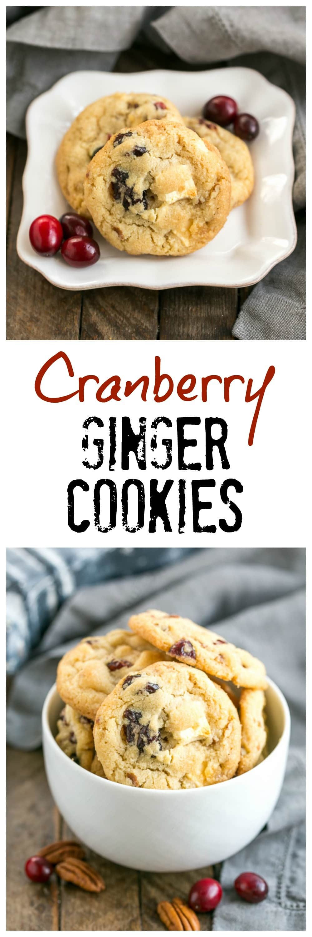 Cranberry, White Chocolate, Crystallized Ginger Cookies - A star studded cookie that's perfect for the holidays and all year long!