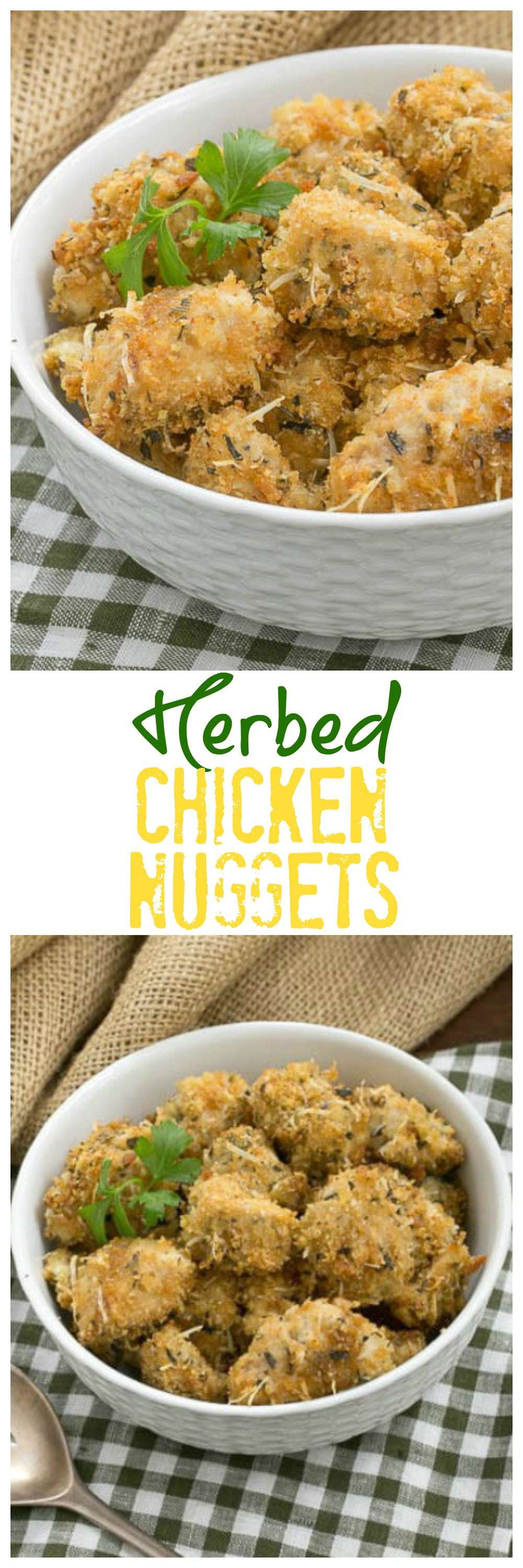 Herbed Chicken Nuggets - Ditch the drive through and make homemade chicken nuggets for your family! #chickennuggets #bakedchickennuggets #copycatchickennuggets #homemadechickennuggets