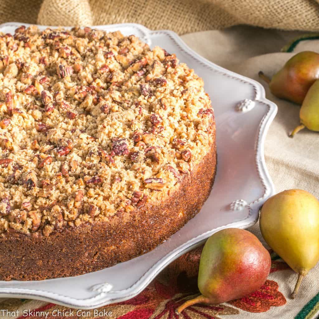 Pear Streusel Coffee Cake - A moist, tender, crumb topped coffee cake that's perfect for company!