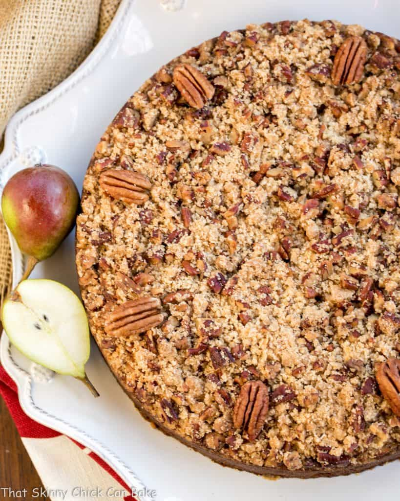 Pear Streusel Coffee Cake - A moist, tender, crumb topped coffee cake that's perfect for company