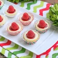 Mini Mascarpone Cheesecakes on a white ceramic tray