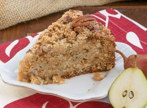 Pear Streusel Coffee Cake | A moist, tender, crumb topped coffee cake that's perfect for company!