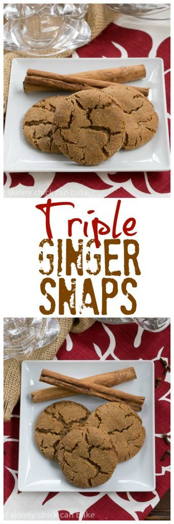Triple Ginger Snaps  | Chewy ginger cookies with dried, fresh AND crystallized ginger for a triple punch of flavor