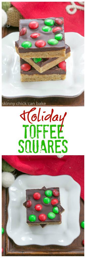 Candy Topped Toffee Squares | 3 decadent layers in these holiday bars!