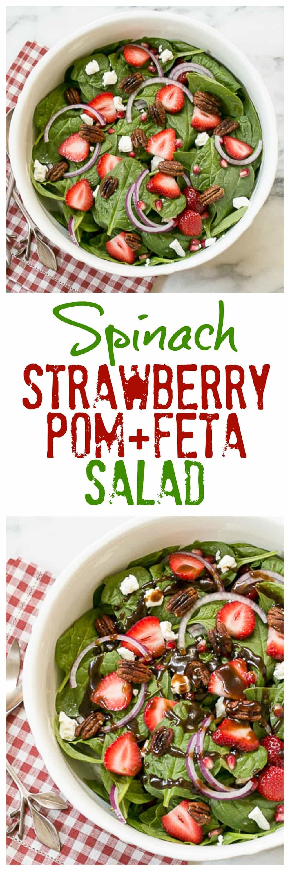Spinach, Strawberry, Pomegranate, Feta Salad with the BEST balsamic vinaigrette - a scrumptious winter salad #balsamicvinaigrette #spinachsalad #pomegratates
