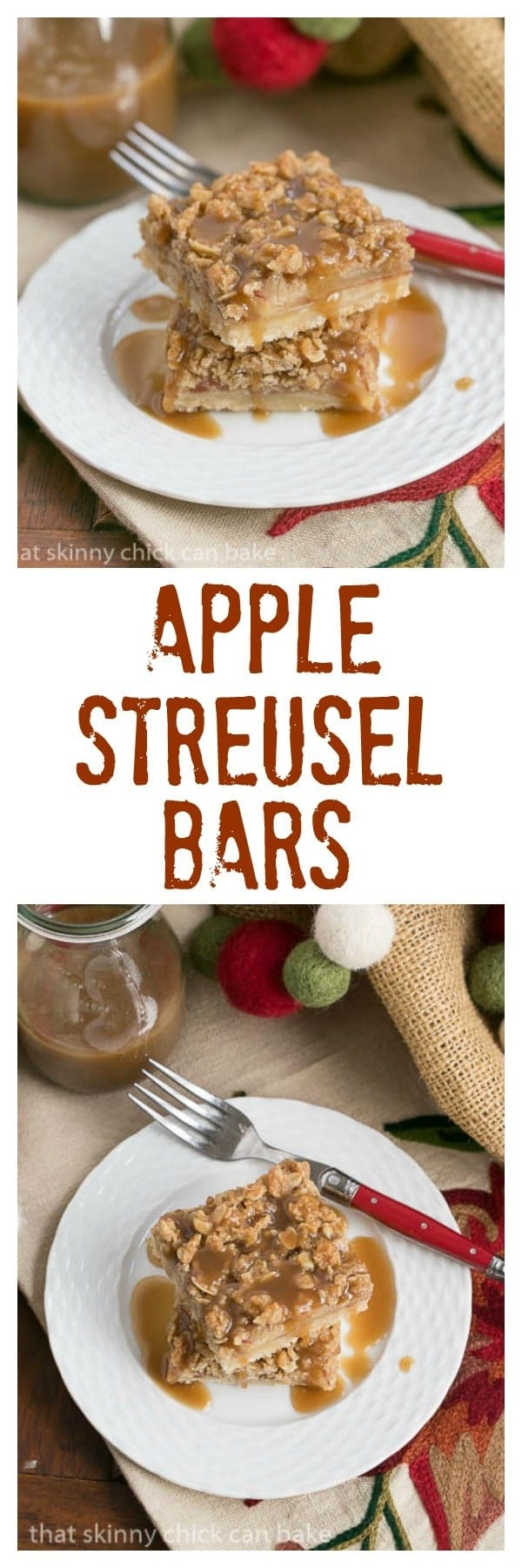 Caramel Apple Streusel Bars with a drizzle of caramel sauce