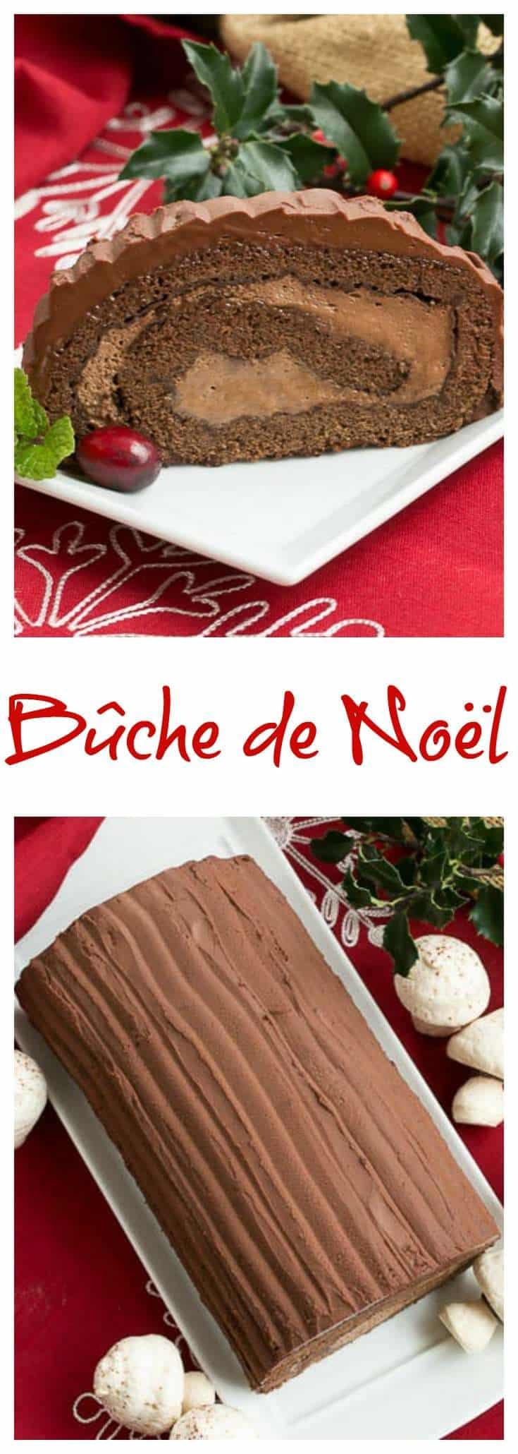 A triple chocolate version of a Christmas Yule Log Cake Roll - Bûche de Noël is a traditional French holiday dessert #Christmas #yulelog #chocolate #buchedenoel