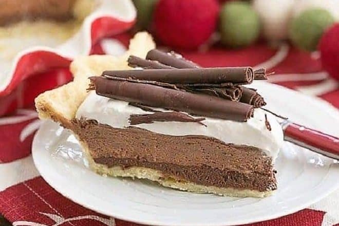 Chocolate Mousse pie slice with chocolate curls